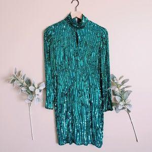Vintage Nite Line Teal Sequin Choker Cut out Dress